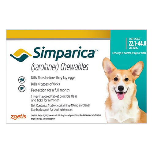Simparica Chewables for Dogs 22.1-44 lbs (Blue)