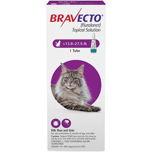 Bravecto Spot On for Large Cats 13.8 lbs - 27.5 lbs (Purple)