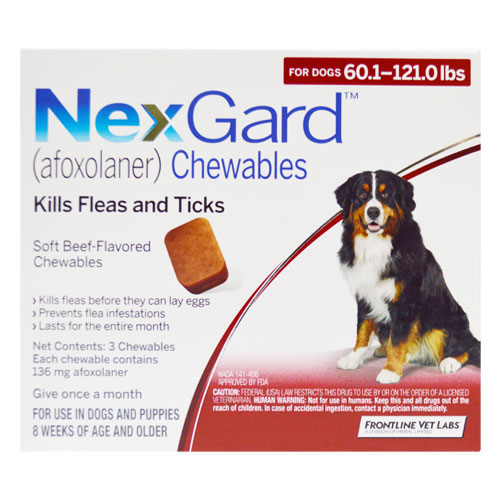 Nexgard Chewables for Extra Large Dogs 60.1-120 lbs (Red) 136mg