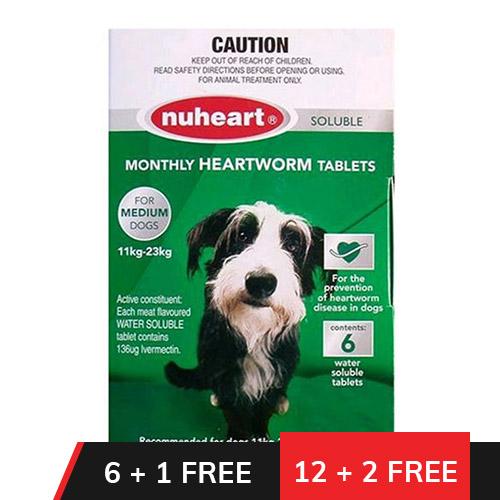 Heartgard Plus Generic Nuheart Medium Dogs 26-50lbs (Green)