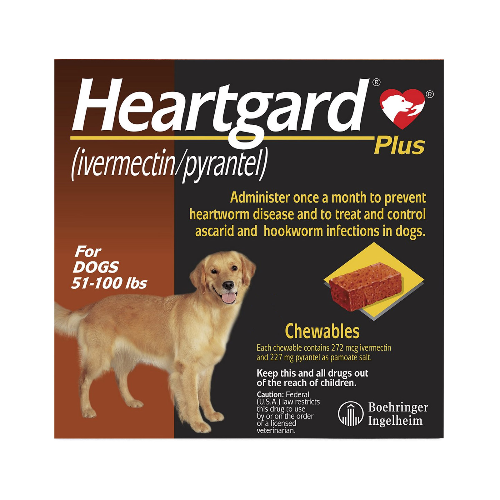 Heartgard Plus Chewables for Large Dog 51-100lbs (Brown)