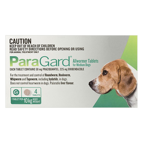 Paragard Allwormer For Medium Dogs 22 lbs (10Kg) Green