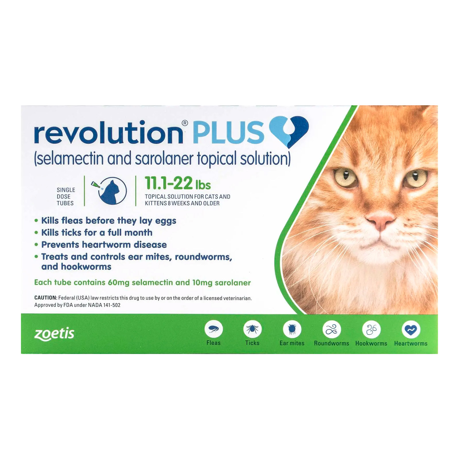 Revolution Plus for Large Cats 11-24lbs (5-10Kg) Green
