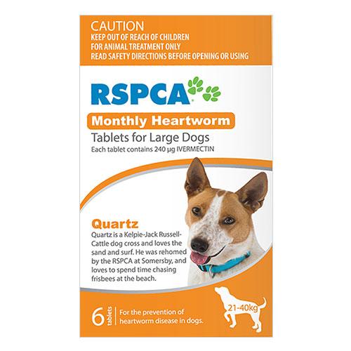 RSPCA Monthly Heartworm Tablets Large Dog 45-88lb (Orange, 21-40kg)