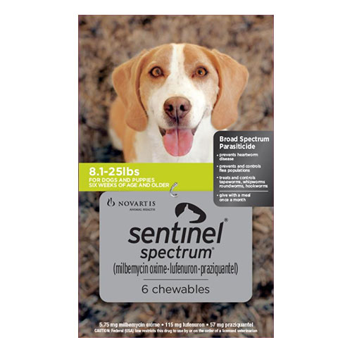 Sentinel Spectrum Chews  for Dogs 8.1-25 lbs (Green)