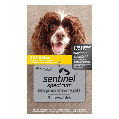 Sentinel Spectrum Chews  for Dogs 25.1-50 lbs (Yellow)