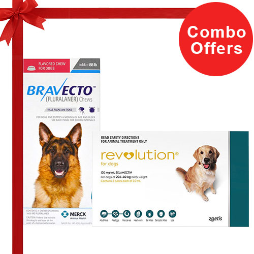 Bravecto +Revolution Combo For Large Dogs 40-85lbs6 Doses Revolution (Green) + 2 Doses Bravecto (Blue)