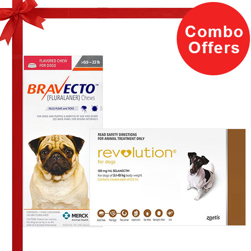 Bravecto +Revolution Combo For Small Dogs 10 - 20lbs6 Doses of Revolution (Brown) + 2 Doses Bravecto (Orange)