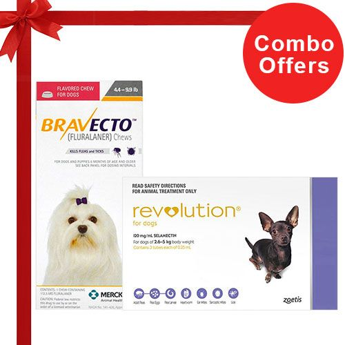 Bravecto +Revolution Combo For Very Small Dogs 5-10 lbs6 Doses of Revolution (Purple) + 2 Doses of Bravecto (Yellow)