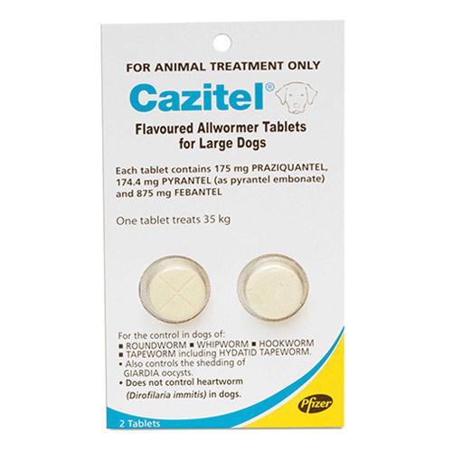 Cazitel Flavoured Allwormer For Dogs 35kgs 1 Tablet