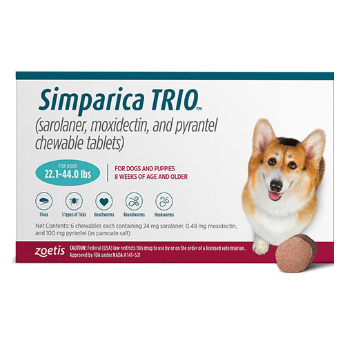 Simparica Trio For Dogs 22.1-44 Lbs (Teal) 3 Chews