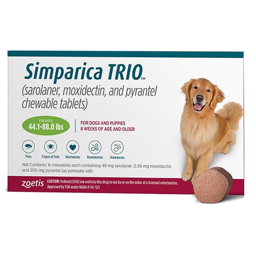 Simparica Trio For Dogs 44.1-88 Lbs (Green) 3 Chews