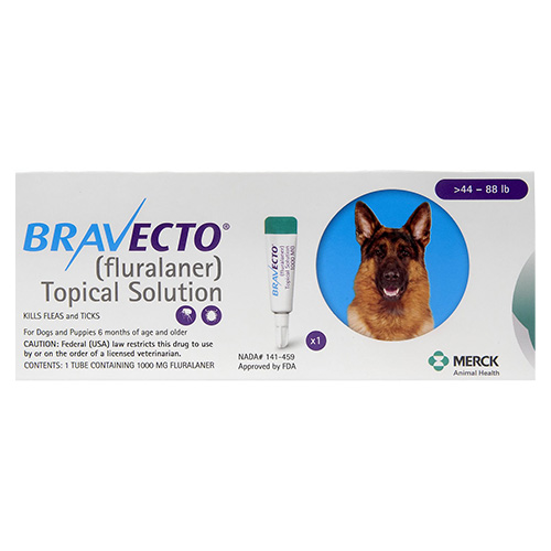 Bravecto Topical For Large Dogs 44 - 88 Lbs Blue 1 Doses