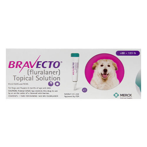 Bravecto Topical For X-Large Dogs Above 88 Lbs Pink 1 Doses