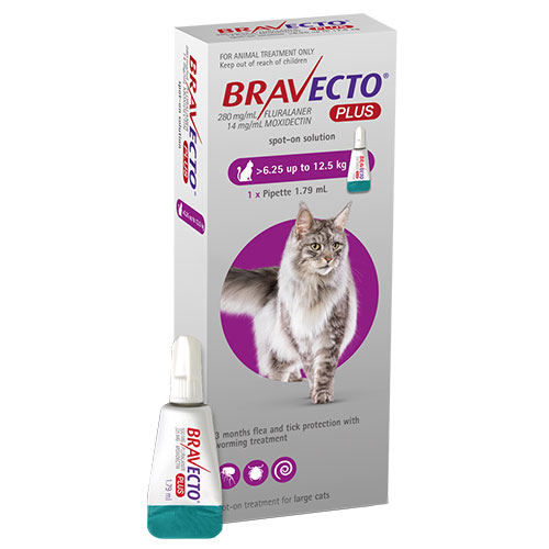 Bravecto Plus For Large Cats 500 Mg 13.75 To 27.5 Lbs Purple 1 Doses