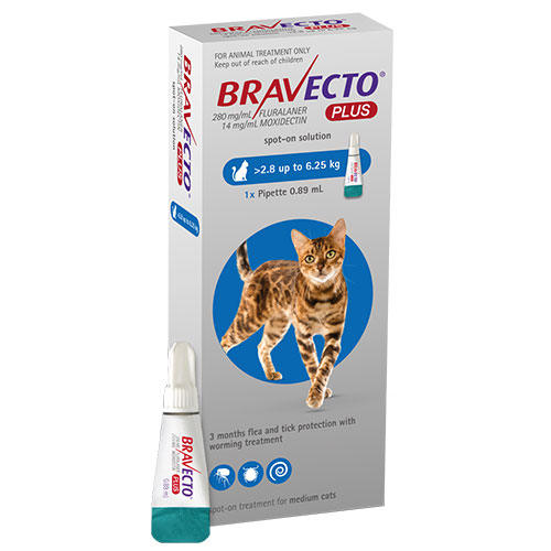 Bravecto Plus For Medium Cats 250 Mg 6.2 To 13.75 Lbs Blue 1 Doses