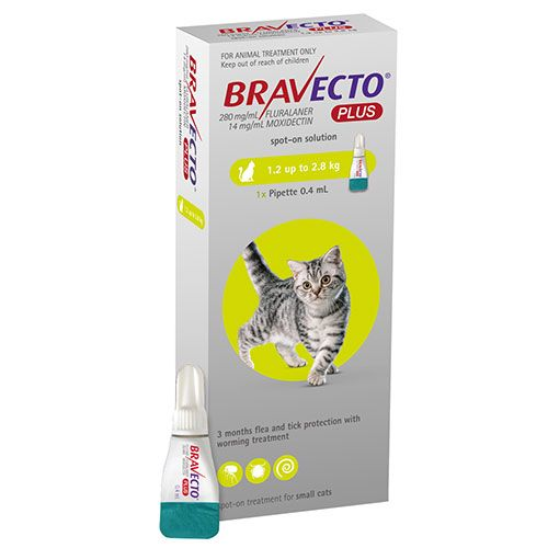 Bravecto Plus For Small Cats 112 Mg 2.6 To 6.2 Lbs Green 1 Doses