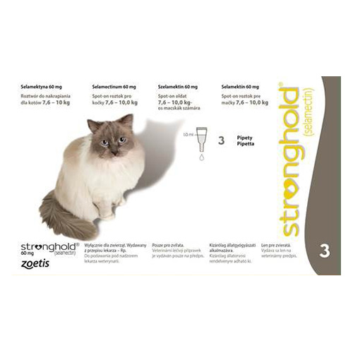 Stronghold Large Cats 7.5 Kg -10 Kg 60 Mg Grey 3 Pipette