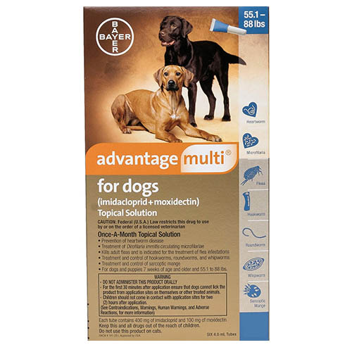Advantage Multi (Advocate) for Extra Large Dogs is the latest topical solution for flea prevention. This monthly treatment prevents heartworm, roundworm, whipworm and mite infestation.