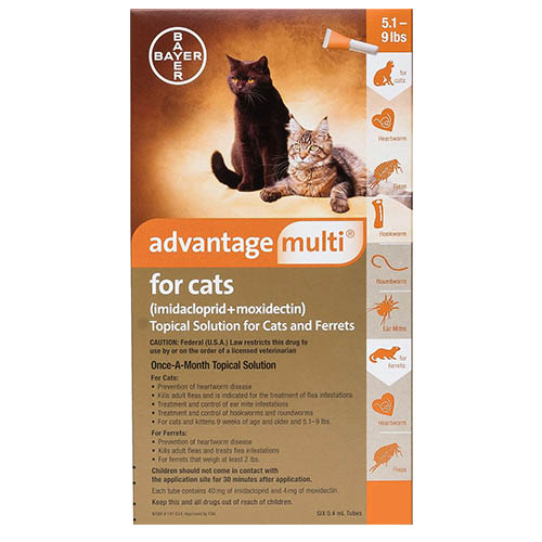 Advantage Multi (Advocate) for Kittens & Small Cats is an ultimate flea and heartworm control treatment. This topical solution kills the existing fleas on cats within 12 hours of application and even removes flea larvae and eggs.