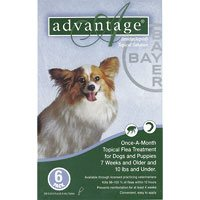 Advantage for small dogs and puppies is a topical anti-flea treatment. The waterproof solution kills 98 - 100 % adult fleas on dogs within 12 hours application and reduces the chances of Flea Allergy Dermatitis (FAD).