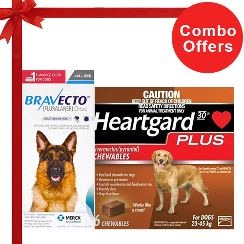 Bravecto Chews + Heartgard Plus Combo Pack  - For Large Dogs (45-90lbs)2 Doses Bravecto Chews (Blue) + 6 Doses Heartgard Plus (Brown)