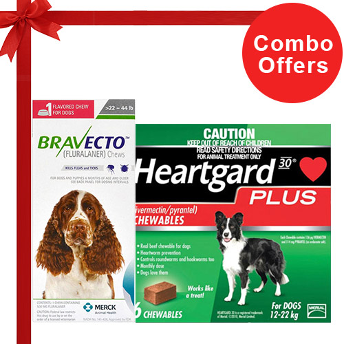 Bravecto Chews + Heartgard Plus Combo Pack  - For Medium Dogs (25-45lbs)2 Doses of Bravecto Chews (Green) + 6 Doses of Heartgard Plus (Green)