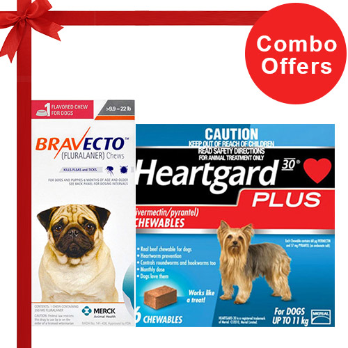 Bravecto Chews + Heartgard Plus Combo Pack  - For Small Dogs (10-25lbs)2 Doses Bravecto Chews (Orange) + 6 Doses of Heartgard Plus (Blue)