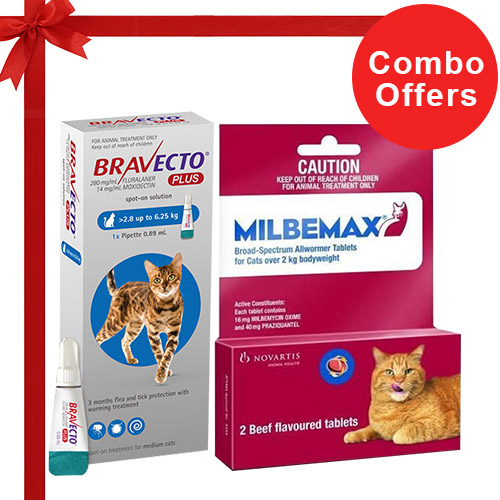 Bravecto Plus + Milbemax Cats Combo Pack  - For Medium Cats (6