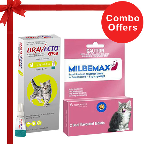Bravecto Plus + Milbemax Cats Combo Pack  - For Small Cats (2