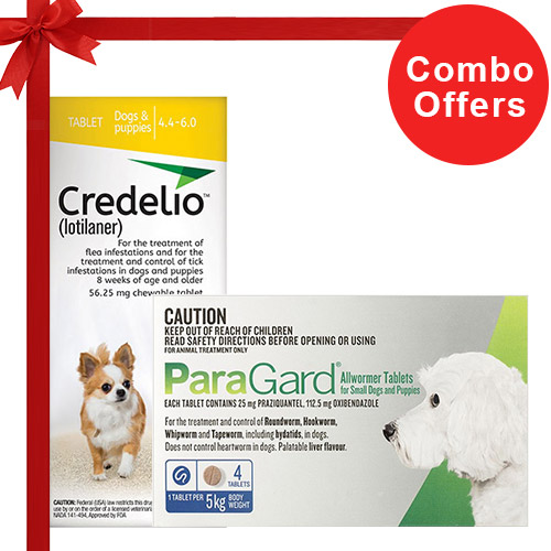 Credelio + Paragard Allwormer Combo Pack  - For Very Small Dogs (4-6lbs)6 Doses of Credelio Dogs (Yellow) + 4 Tablets of Paragard Dogs (Blue)