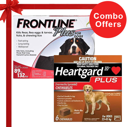 Frontline Plus & Heartgard Plus Combo Pack  - For Extra Large Dogs (88-100lbs)6 Doses of Frontline Plus (Red) + 6 Doses of Heartgard Plus (Brown)