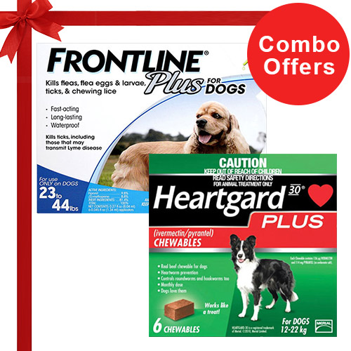 Frontline Plus & Heartgard Plus Combo Pack  - For Medium Dogs (23-44lbs)6 Doses of Frontline Plus (Blue) + 6 Doses of Heartgard Plus (Green)