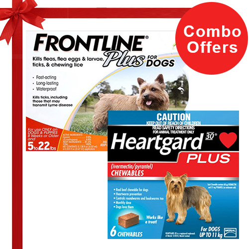 Frontline Plus & Heartgard Plus Combo Pack  - For Small Dogs (0-22lbs)6 Doses of Frontline Plus (Orange) + 6 Doses of Heartgard Plus (Blue)