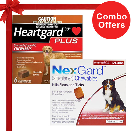 Nexgard  & Heartgard Plus Combo Pack  - For Extra Large Dogs (50-100lbs)6 Doses of Nexgard (Red) + 6 Doses of Heartgard Plus (Brown)