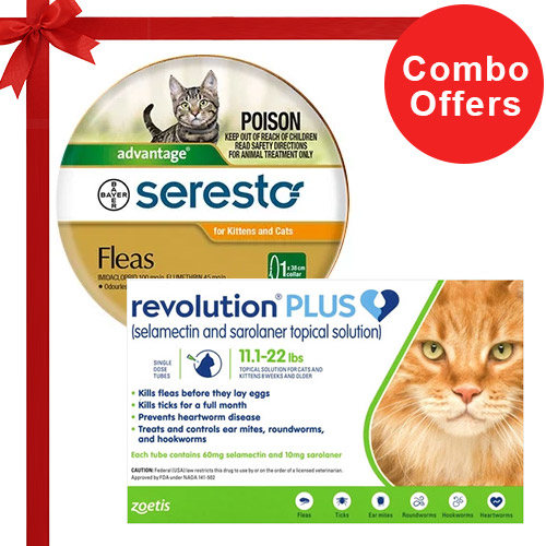 Revolution Plus + Seresto Collar Combo Pack  - For Large Cats (11-24lbs)6 Doses of Revolution Plus Cats (Green) + 1 Pack of Seresto Cat Collar