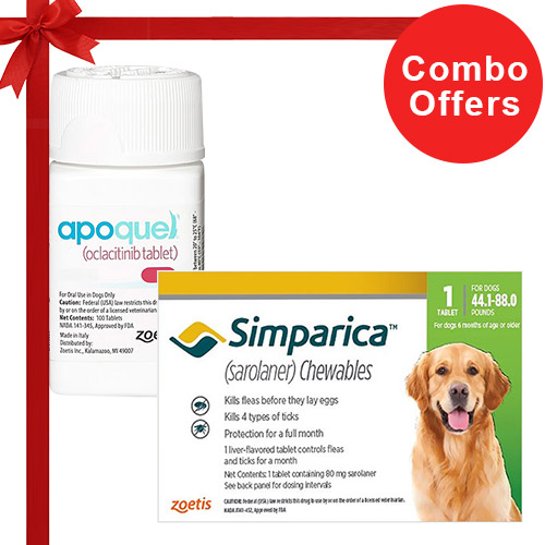 Simparica + Apoquel  Combo Pack  - For Large Dogs (44-88lbs)6 Doses of Simparica (Green) + 10 Tablets of Apoquel For Dogs (16 mg)