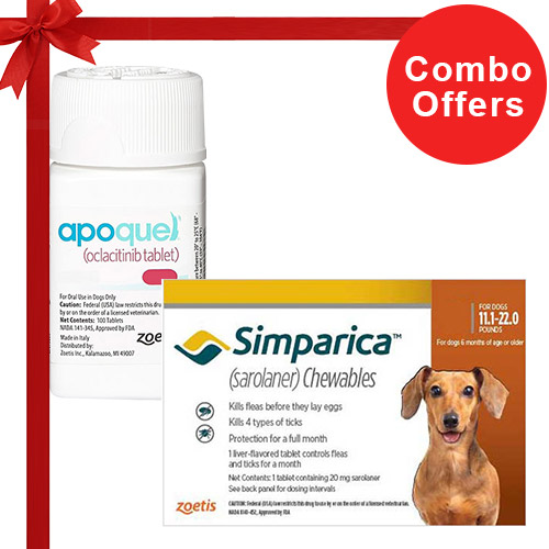 Simparica + Apoquel  Combo Pack  - For Small Dogs (11-22lbs)6 Doses of Simparica (Brown) + 10 Tablets of Apoquel For Dogs (5