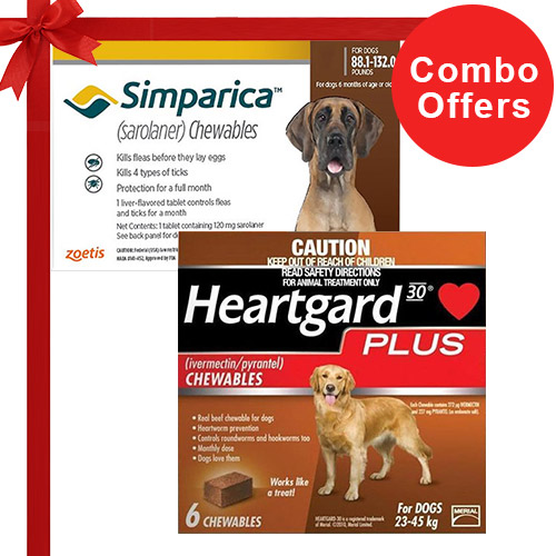 Simparica + Heartgard Plus Combo Pack  - For Extra Large Dogs (88lbs-100lbs)6 Doses of Simparica (Red) + 6 Doses of Heartgard Plus (Brown)