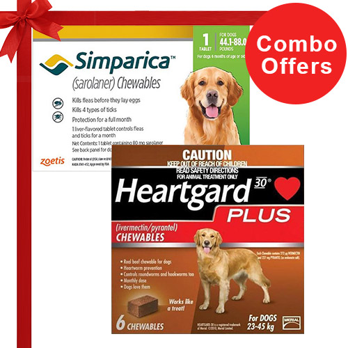 Simparica + Heartgard Plus Combo Pack  - For Large Dogs (44-88lbs)6 Doses of Simparica (Green) + 6 Doses of Heartgard Plus (Brown)