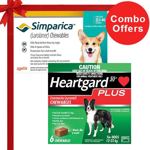 Simparica + Heartgard Plus Combo Pack  - For Medium Dogs (22-44lbs)6 Doses of Simparica (Blue) + 6 Doses of Heartgard Plus (Green)