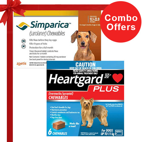 Simparica + Heartgard Plus Combo Pack  - For Small Dogs (11-22lbs)6 Doses of Simparica (Brown) + 6 Doses of Heartgard Plus (Blue)