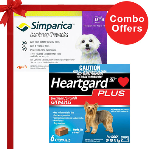 Simparica + Heartgard Plus Combo Pack  - For Very Small Dogs (5