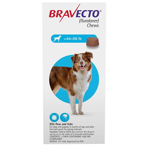 Bravecto For Large Dogs 44-88lbs Blue 1 Chews