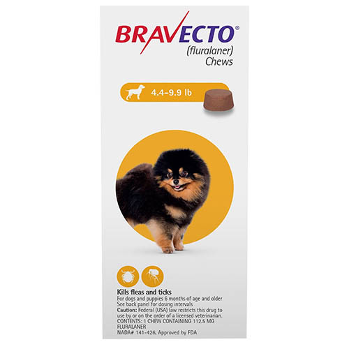 Bravecto For Toy Dogs 4.4 To 9.9 Lbs Yellow 1 Chews