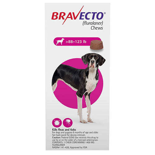 Bravecto For Extra Large Dogs 88-123lbs Pink 1 Chews
