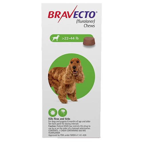 Bravecto For Medium Dogs 22- 44 Lbs Green 1 Chews