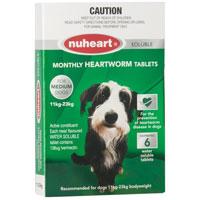 Nuheart Generic Heartgard For Medium Dogs 26-50lbs Green 6 Tablet