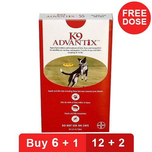 K9 Advantix Large Dogs 21-55 Lbs Red 4 Doses