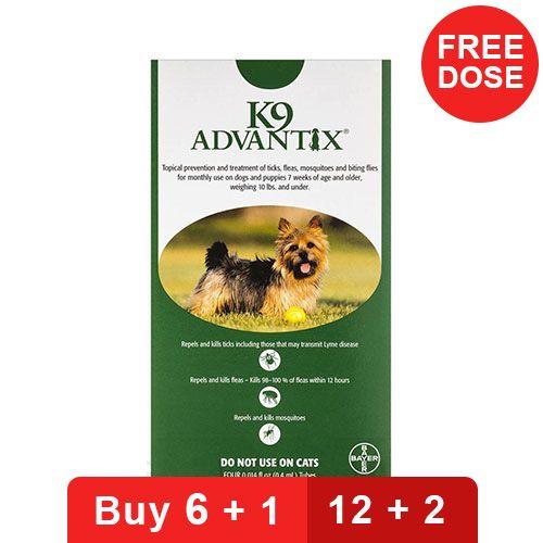 K9 Advantix Small Dogs/Pups 1-10 Lbs Green 4 Doses